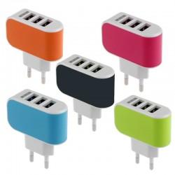 Adaptateur secteur universel USBus 3 ports USB - Différents coloris